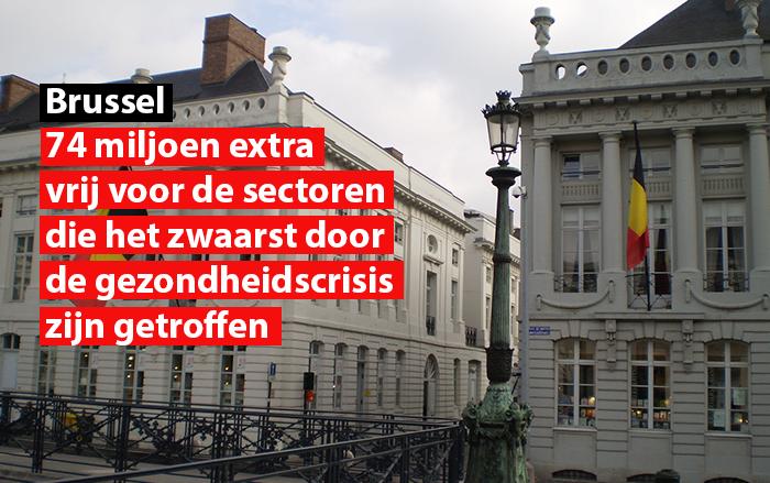 vrusselse regering maakt 74 miljoen extra vrij voor de sectoren die het zwaarst door de gezondgheidcrisis zijn getroffen