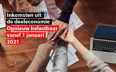 Inkomsten uit de deeleconomie : opnieuw belastbaar vanaf 1 januari 2021