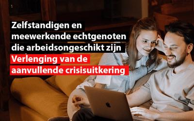 Zelfstandigen en meewerkende echtgenoten die arbeidsongeschikt zijn: verlenging van de aanvullende crisisuitkering
